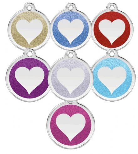 Red Dingo Cat tag Glitter heart